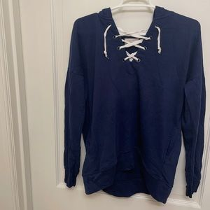 Blue Lace-Up Hoodie